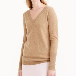 J. Crew Collection Cashmere V-Neck Sweater Tan XXS